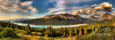 Photograph - Upper Two Medicine Lake Sunrise Panorama by Adam Jewell