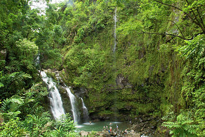 Photograph - Upper Waikani Falls 1 by Marie Leslie