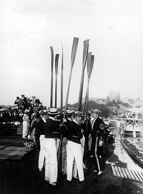 Oar Photograph - Upright Oars by Hulton Collection