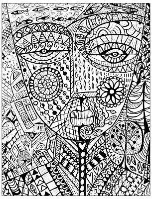 Mixed Media - Urban Art Guardian Coloring Page by Sandra Silberzweig