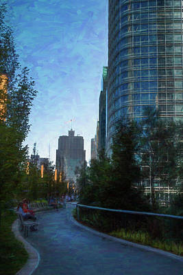 Digital Art - Urban Park Path At Twilight by Bonnie Follett