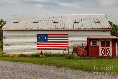 Photograph - Us American Flag Barn by George Sheldon