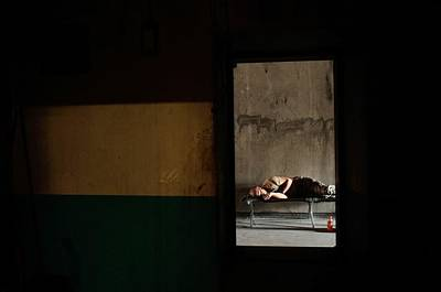 Trapped Photograph - U.s. Army Builds Miltary Outpost In by Chris Hondros
