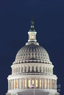 Photograph - Us Capitol Dome At Night I by Clarence Holmes