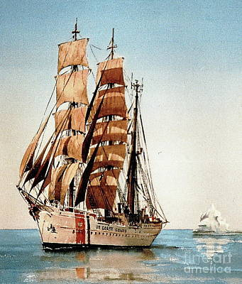 Painting - Us Coastguard Tall Ship by Val Byrne