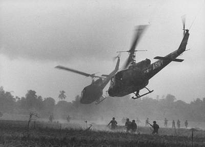 Photograph - Us Helicopters Carrying South Vietnamese by Larry Burrows