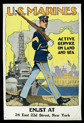 Photograph - U.s. Marines Recruitment Poster by The New York Historical Society