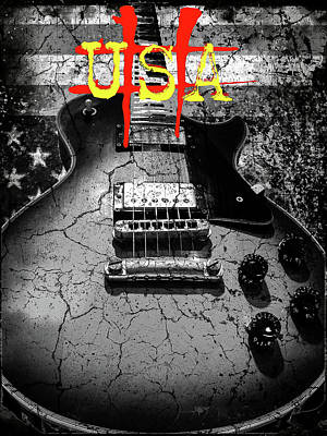 Digital Art - Usa Flag Guitar Relic by Guitar Wacky