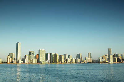 Photograph - Usa, Florida, Miami City Skyline by George Doyle