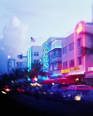 Photograph - Usa, Florida, Miami, Ocean Drive, Dusk by Jerry Driendl