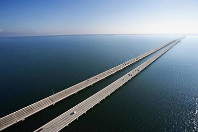 Sunshine Skyway Bridge Wall Art - Photograph - Usa, Florida, Tampa Bay, Sunshine by Ron Chapple
