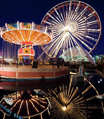 Photograph - Usa, Illinois, Chicago, Ferris Wheel by Henryk Sadura