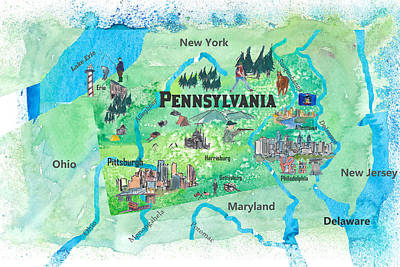 Pittsburgh On Map Of Usa.Pittsburgh Map Paintings Fine Art America