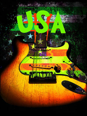 Digital Art - Usa Strat Guitar Music Green Theme by Guitar Wacky