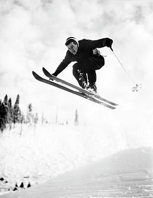 Photograph - Usa, Washington, Seattle, Jumping Skier by Superstock