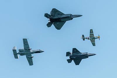 Photograph - Usaf Heritage Flight Formation by Randy Scherkenbach