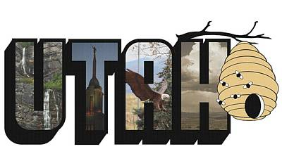 Photograph - Utah The Beehive State Big Letter by Colleen Cornelius