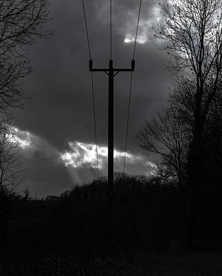 Photograph - Utility Pole Monochrome by Scott Lyons