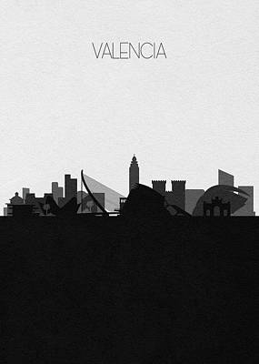 Drawing - Valencia Cityscape Art by Inspirowl Design