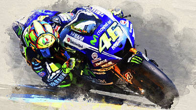 Sports Paintings - Valentino Rossi, Yamaha - 04 by AM FineArtPrints