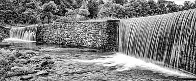 Photograph - Valley Creek Waterfall Panorama In Black And White by Bill Cannon
