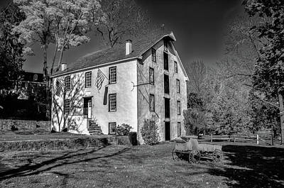 Photograph - Valley Forge Grist Mill In Black And White by Bill Cannon
