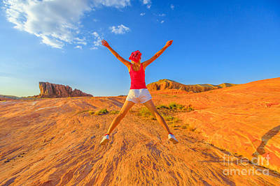 Photograph - Valley Of Fire Jumping by Benny Marty