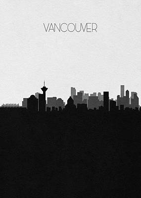Digital Art - Vancouver Cityscape Art by Inspirowl Design