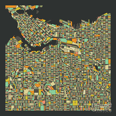 Vancouver Wall Art - Digital Art - Vancouver Map 2 by Jazzberry Blue