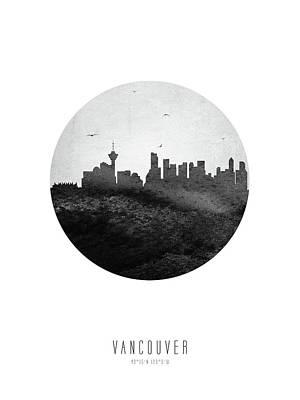 Digital Art - Vancouver Skyline CABCVA04 by Aged Pixel