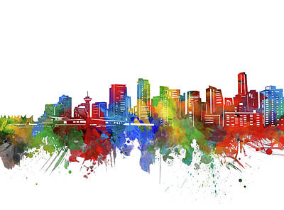 Abstract Skyline Royalty-Free and Rights-Managed Images - Vancouver Skyline Watercolor 2 by Bekim M