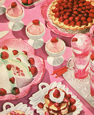 Photograph - Variety Of Strawberry Desserts by Graphicaartis