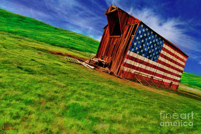 Photograph - Vasco American Flag Barn Brentwood Ca by Blake Richards