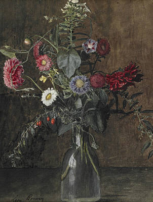 Drawing - Vase Of Flowers by Leon Bonvin