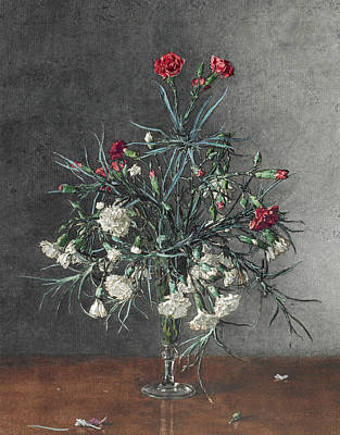 Drawing - Vase Of Red And White Carnations by Leon Bonvin