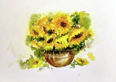 Painting - Vase Of Sunflowers by Asha Sudhaker Shenoy