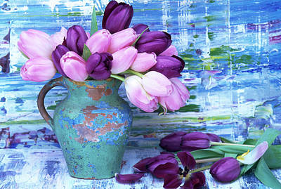 Photograph - Vase Of Tulips Flowers by Linda Burgess