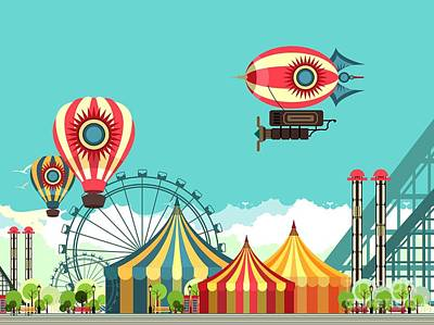 Vector Illustration Carnival Circus Art Print by Marrishuanna