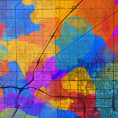 Mixed Media - Vegas Colorful Street Map by Dan Sproul