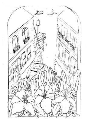 Drawing - Vence - Paint My Sketch By Delynn Addams by Delynn Addams