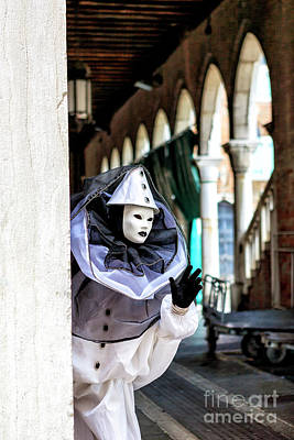Photograph - Clown Appears During Carnival In Venice by John Rizzuto