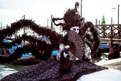 Photograph - Venice Black Swan At Carnival by John Rizzuto