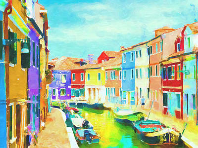 Mixed Media - Venice Canal And Houses by David Ridley