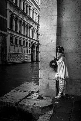 Photograph - Venice Carnival In Mono by Georgia Fowler