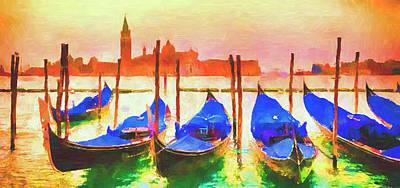 Mixed Media - Venice Gondolas by David Ridley