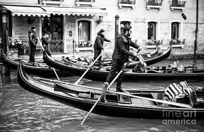 Photograph - Venice Gondolas In Synch by John Rizzuto