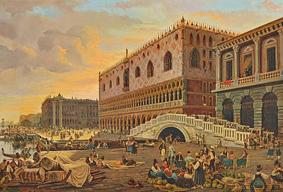 Painting - Venice, Ponte Della Paglia With The Doge's Palace by Pieter van Loon