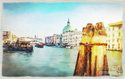 Mixed Media - Venice Wharf Watercolor by Marina Usmanskaya