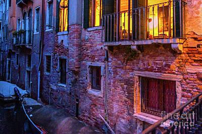 Venice Windows At Night Art Print