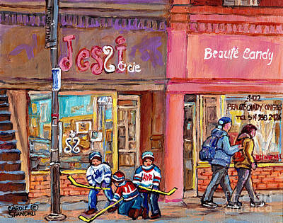 Painting - Verdun Montreal Storefront Painting Jessie Et Cie Beaute Candy Nail Shop Hockey Artist C Spandau Art by Carole Spandau